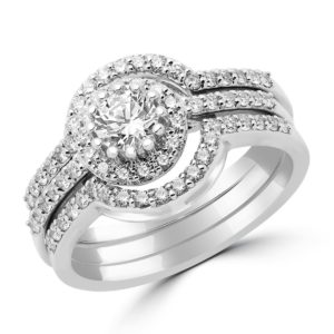 Unique halo ring with two matching bands 0.90 (ctw) in 14 white gold