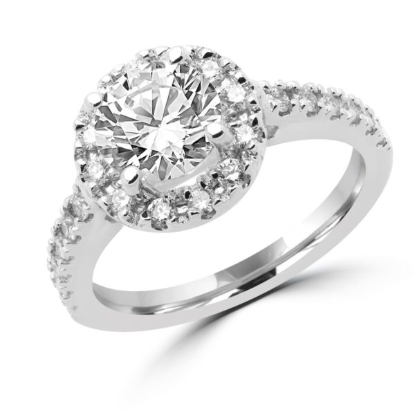 Halo engagement ring 0.36 (ctw) + CZ center in 14k white gold