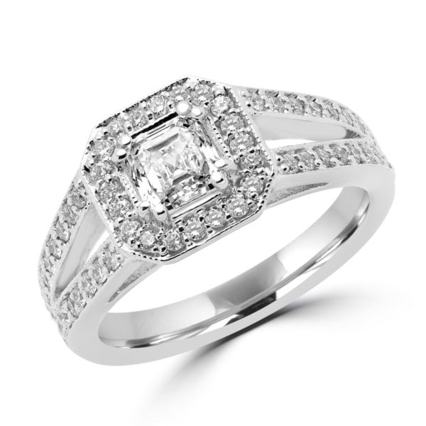 0.72 SI1 E GIA+0.30 CT SI ENGAGEMENT HALO RING 14K WHITE GOLD