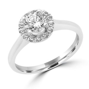 Striking halo ring 0.16 (ctw) with CZ center in 14k white gold
