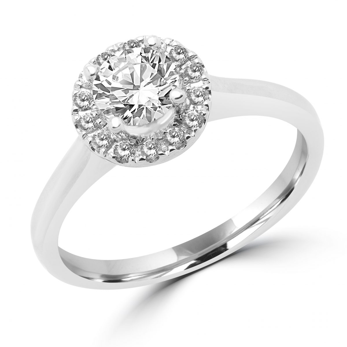 0.61 Carat Elegant Diamond Halo Engagement Ring 14k White