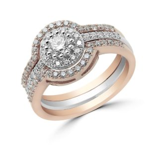 Unique Halo Ring 14k + Diamonds 1.02Ct