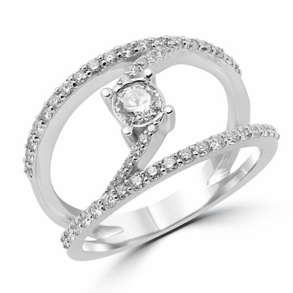 Striking engagement ring 0.78 (ctw) in 14k white gold