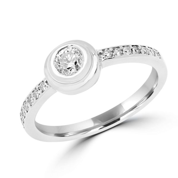 Circle diamond engagement ring 0.42 (ctw) in 14k white gold