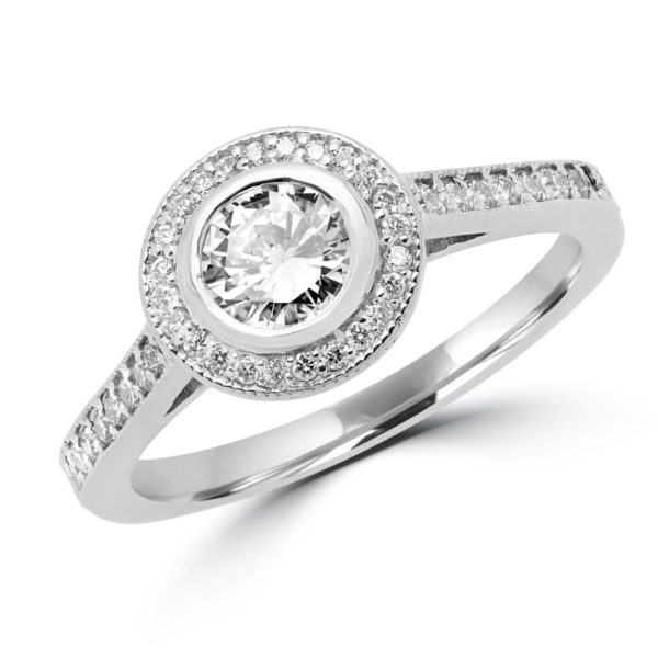 Bezel setting engagement ring (0.69 ctw) in 14k white gold