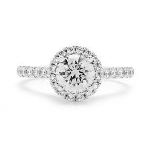 ENGAGEMENT HALO RING IN SUPER WHITE GOLD