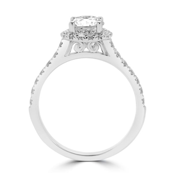 ENGAGEMENT HALO RING IN 19k SUPER WHITE GOLD
