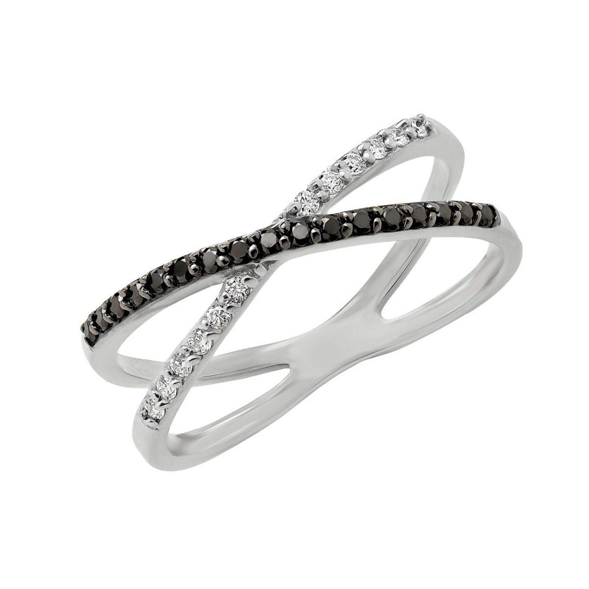 Black & white diamond cocktail ring in 10k white gold