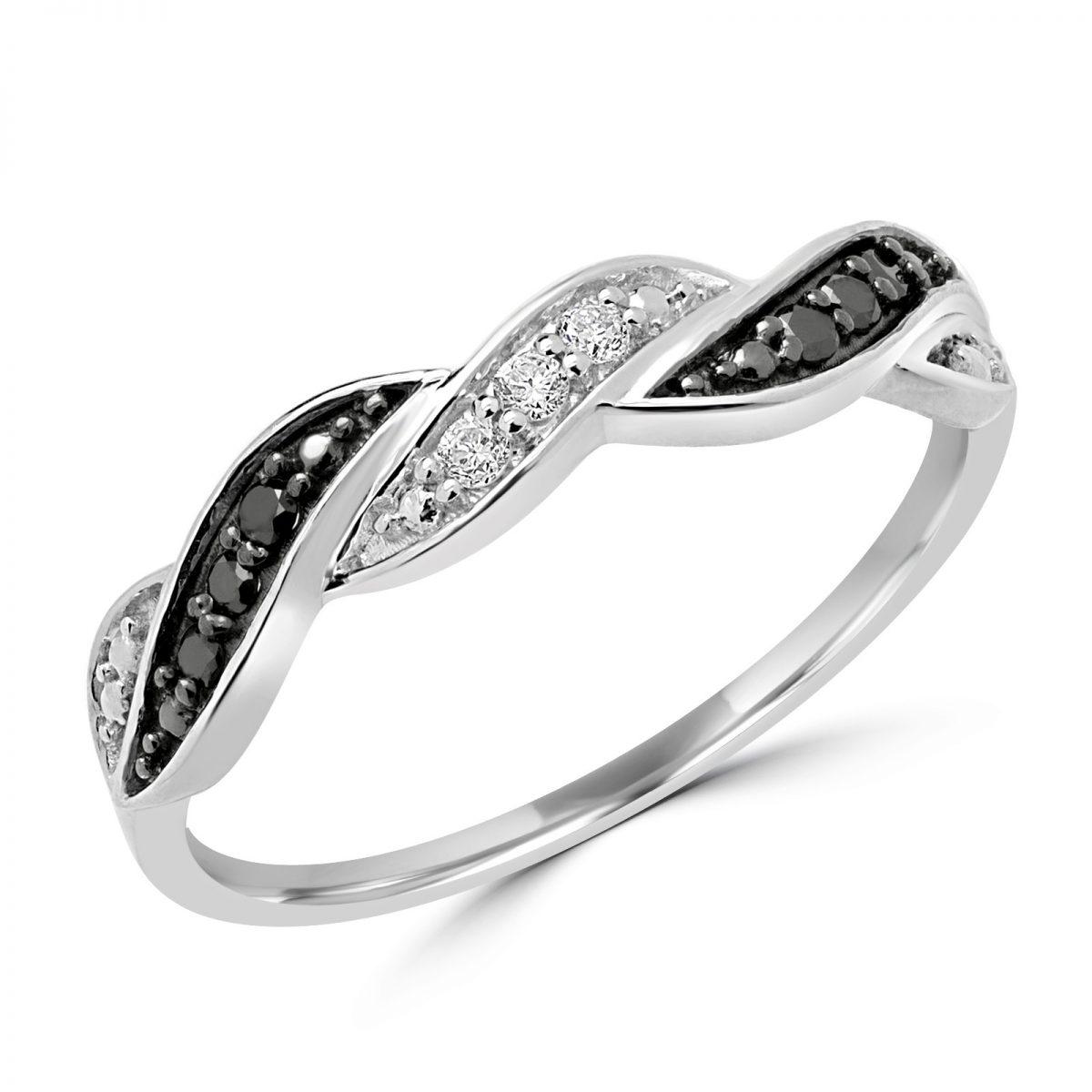 37cc5706f7a Bague diamant noire et blanche féminine 10k or blanc
