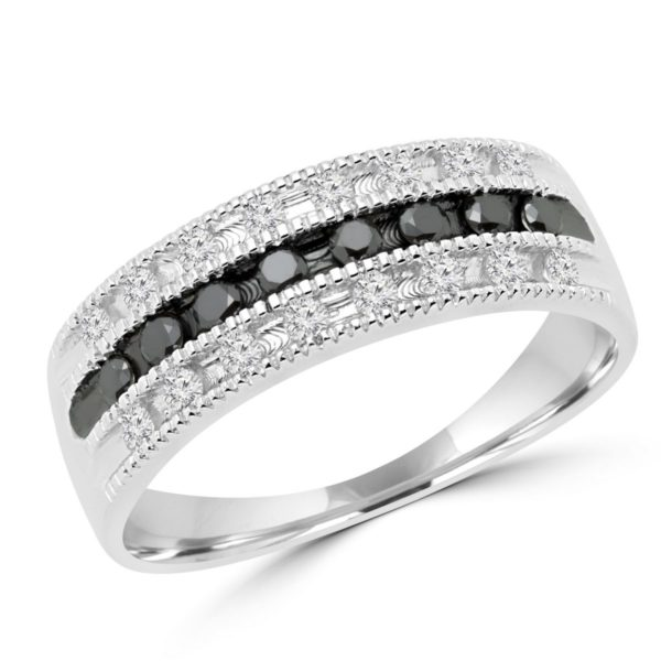 Black & white diamond anniversary ring 0.32 (ctw) in 14k white gold