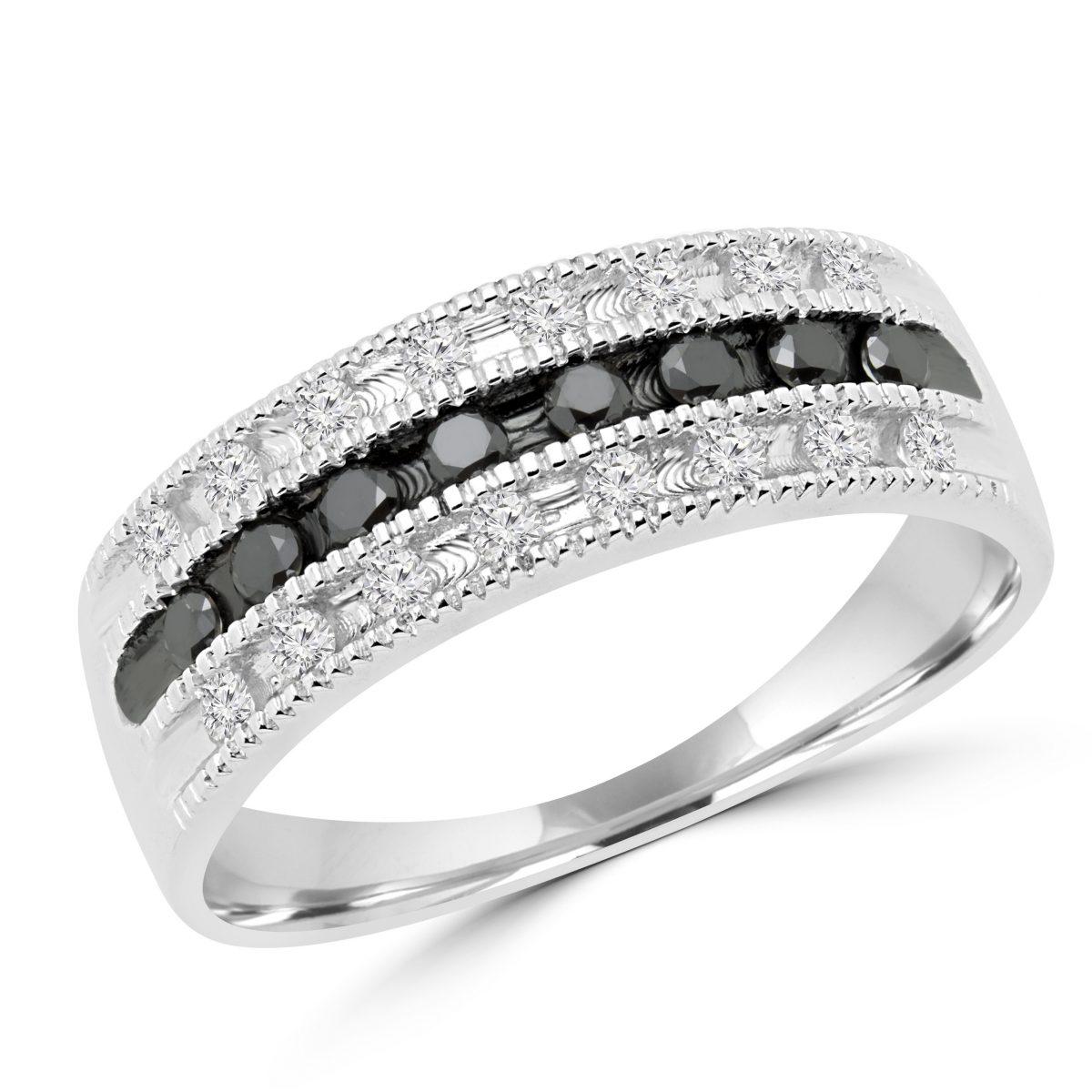 bague or blanc et diamant blanc et noir