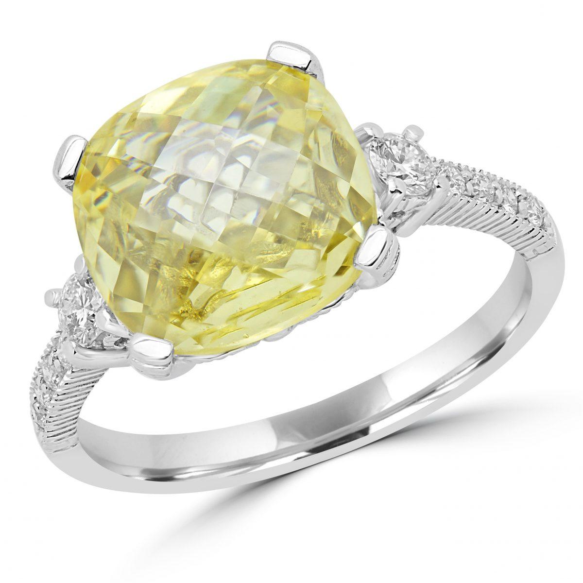 4187248ed5f2 Anillo cóctel amarillo CZ y diamantes talla cojín en oro blanco ...