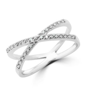 Stylish cocktail ring 0.14 (ctw) in 14k white gold