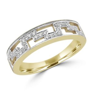 Greek key anniversary wedding band 0.20 (ctw) in 10k yellow gold