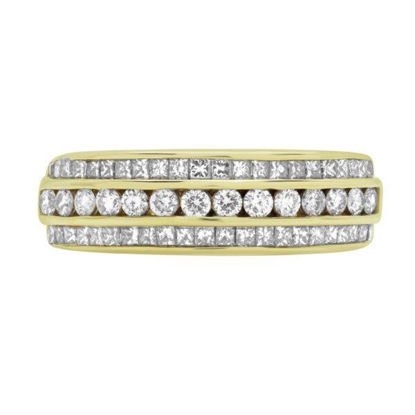 1.05 CT DIAMOND PRINCESS CUT ANNIVERSARY RING 14K YELLOW GOLD