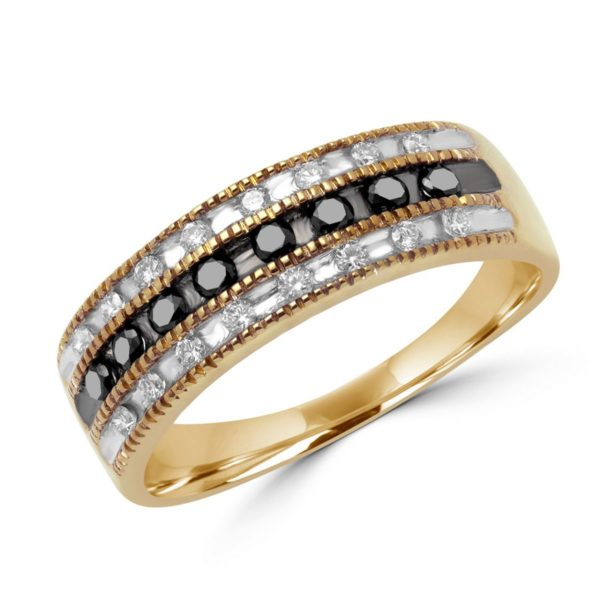 Black & white diamond anniversary ring 0.32 (ctw) in 14k yellow gold