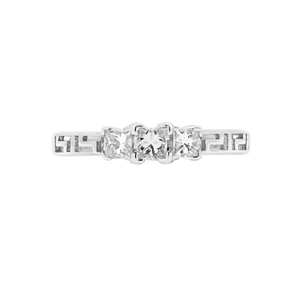 0.36 CT PRINCESS CUT DIAMOND GREEK KEY RING IN 10K WHITE GOLD