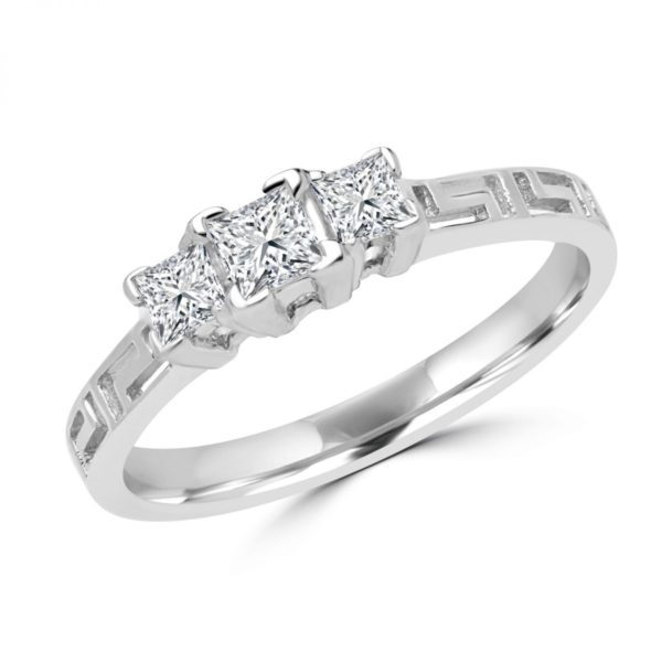 Princess cut greek key ring 0.36 (ctw) in 10k white gold