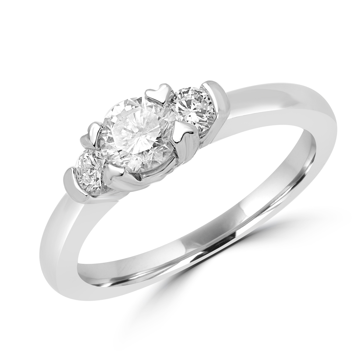 Glittery Engagement Ring 0.68 (ctw) In 14k White Gold