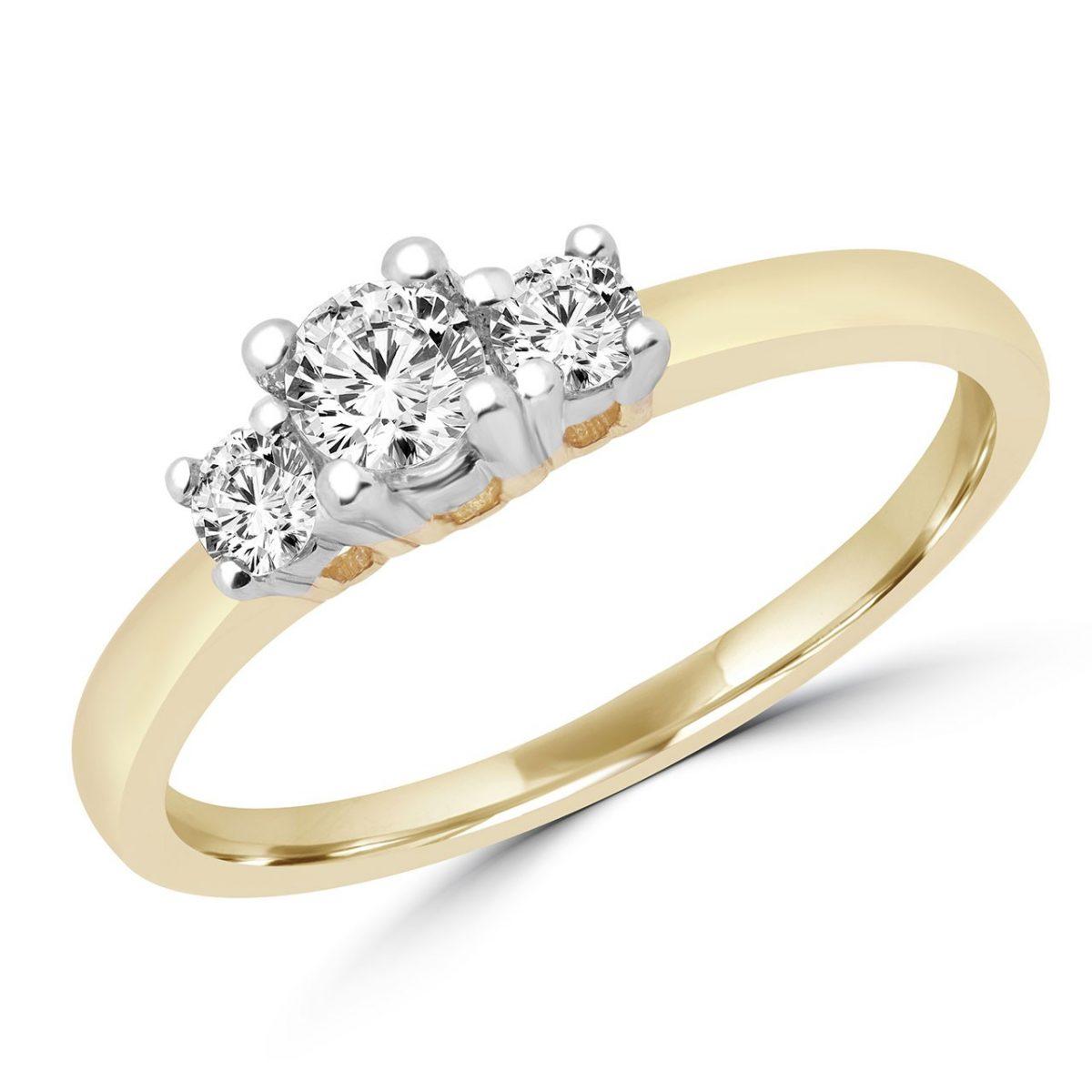 3 Stone Diamond Engagement Ring 0.30 (ctw) In 10k Yellow