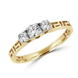 3 Stone anniversary greek key ring 0.36 (ctw) in 14k yellow gold