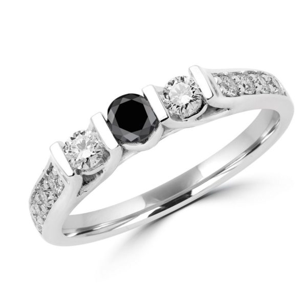 3 Stone anniversary black & white diamond ring in 14k white gold