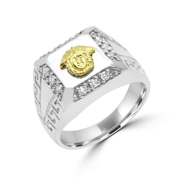 Greek key versace design ring 0.30 (ctw) in 10k white gold