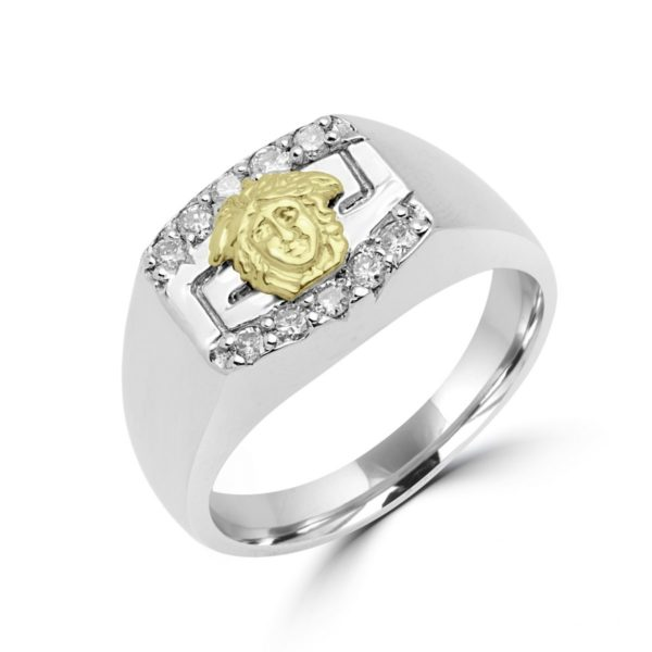 Diamond accent men's greek key design ring in 10k white gold