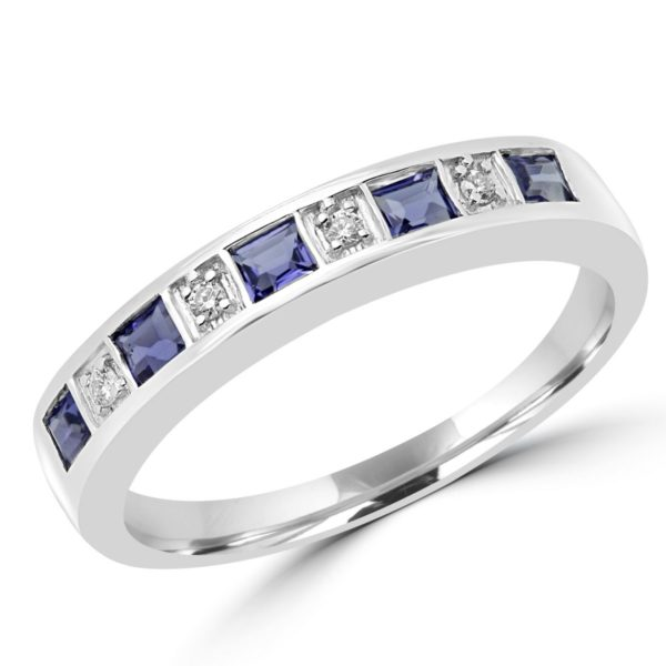 Iolite & diamond wedding band 0.64 (ctw) in 10k white gold