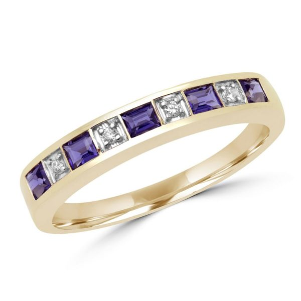 Iolite & diamond wedding band 0.64 (ctw) in 10k yellow gold