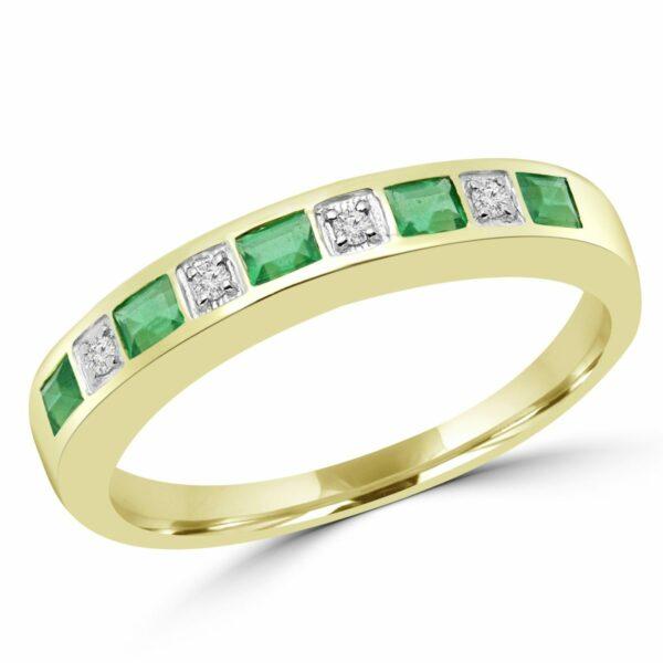 Emerald & diamond wedding band 0.64 (ctw) in 10k yellow gold