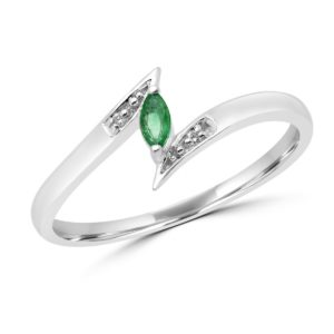 Marquise cut emerald & diamond cocktail ring in 10k white gold