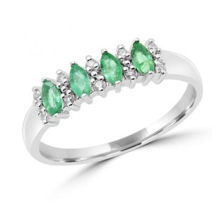 Marquise cut emerald & diamond fashion cocktail ring in 10k white gold