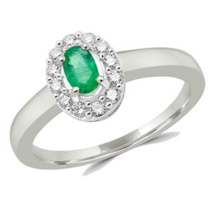 Emerald & diamond halo cocktail ring 0.48 (ctw) in 10k white gold