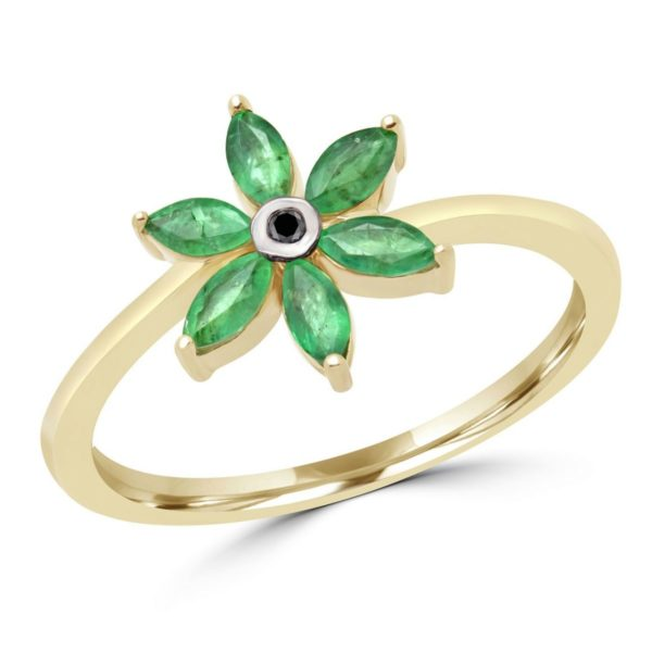 Marquise cut emerald & black diamond flower ring in 10k yellow gold