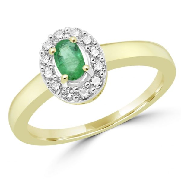 Emerald & diamond halo cocktail ring 0.48 (ctw) in 10k yellow gold