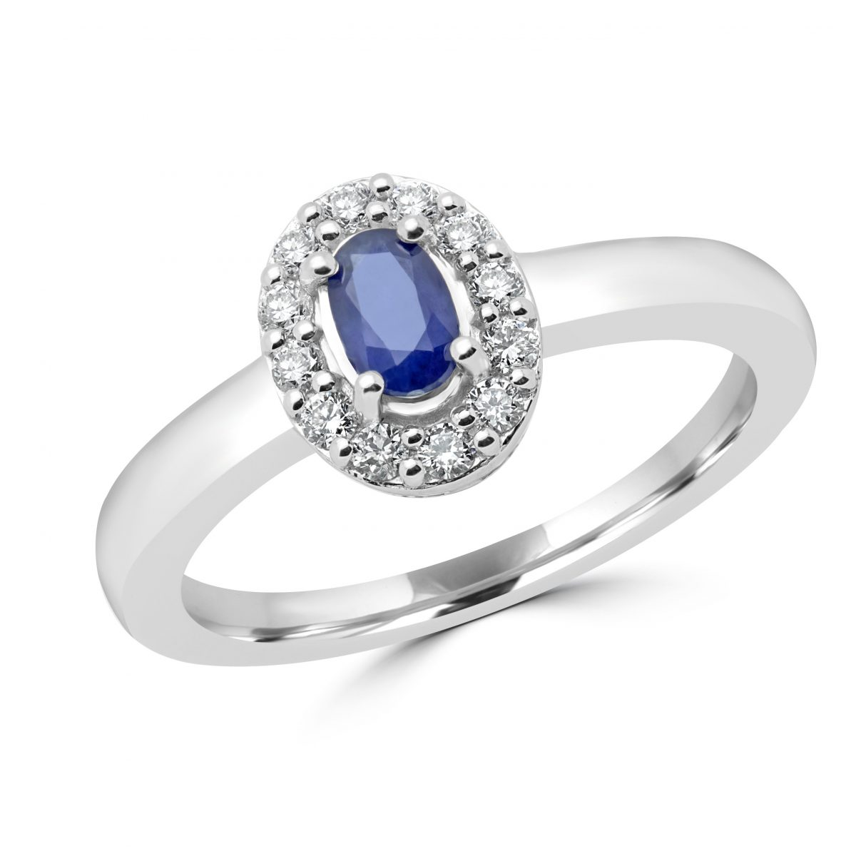 gold ring stone sapphire diamond white bands