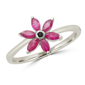 Marquise cut ruby & black diamond flower ring in 10k white gold