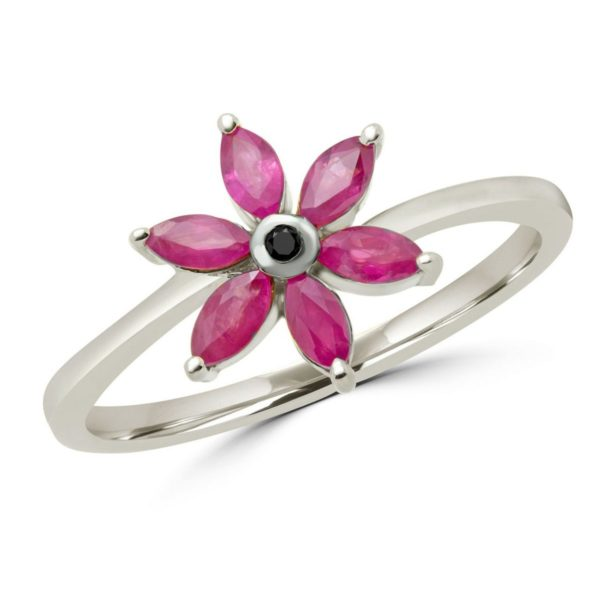 Marquise cut ruby & black diamond flower ring in 10k white gold
