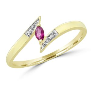Marquise cut ruby & diamond cocktail ring in 10k yellow gold