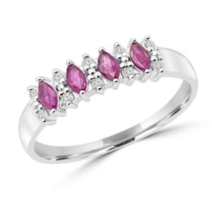 Marquise cut ruby & diamond fashion cocktail ring in 10k white gold