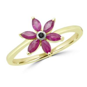 Marquise cut ruby& black diamond flower ring in 10k yellow gold