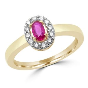 Ruby & diamond halo cocktail ring 0.38 (ctw) in 10k yellow gold