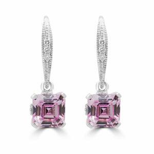 Drops diamond earrings fancy pink lab stones 14k white gold