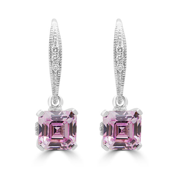 Drops diamond earrings fancy pink lab stones 14k white gold