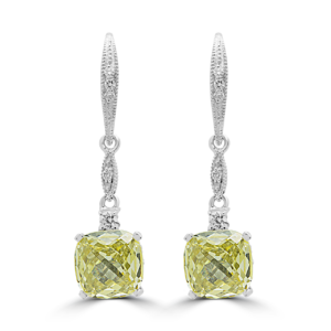 Drops earrings diamonds cushin canary color lab stones 14k white gold