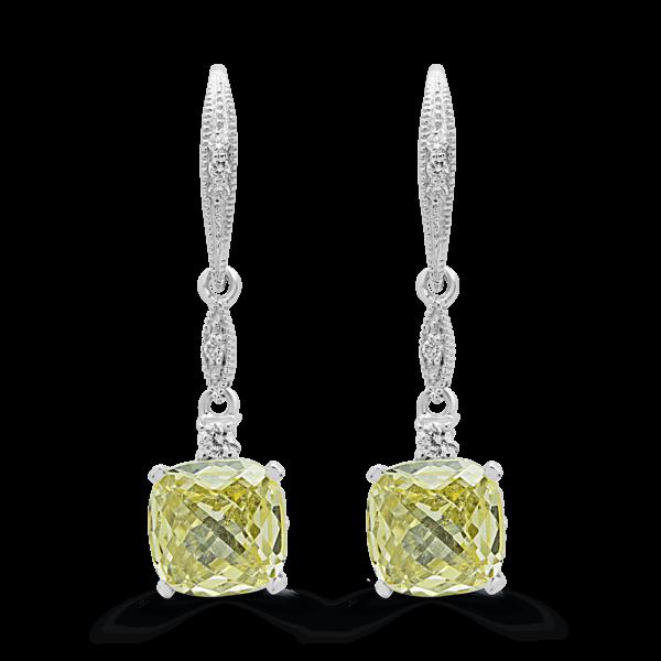 Drops earrings diamonds cushin canary color lab stones 14k white gold