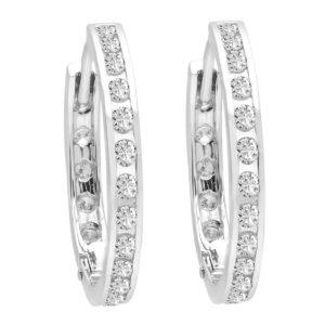Channel set round hoop diamond earrings 0.85 (ctw) in 14k white gold