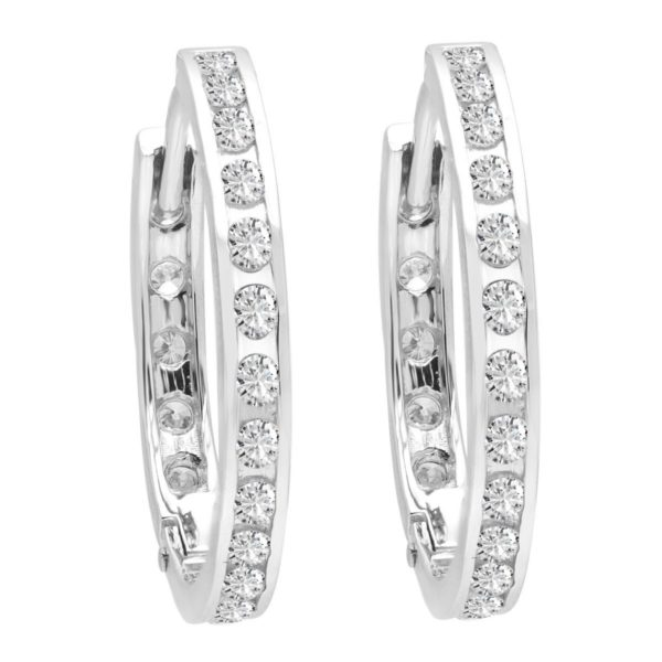 Channel set round hoop diamond earrings 0.85 (ctw) in 14k white gold