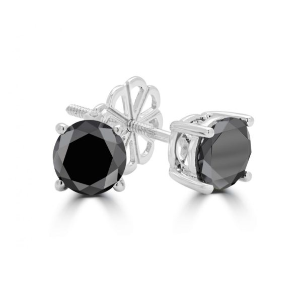 Black diamond stud earrings 0.20 (ctw) in 14k white gold